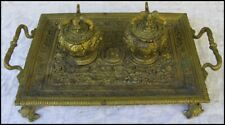 French? Antique Continental Ornate Brass Bronze Double Inkwell Tray w Griffins