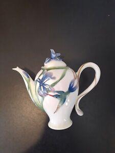 "Franz Porcelain Long Tail Hummingbird Iris 7"" Teapot FZ00132"