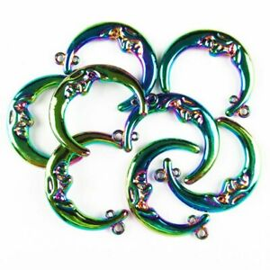 5Pcs 40x10x4mm Carved Rainbow Tibetan Silver Moon Pendant Bead 40g A-SH553