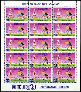 Cambodge Cambodia Munich 1974 Football FIFA Mi 420A-428A 9 valeurs en feuilles