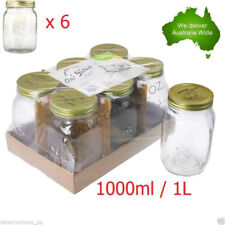 6x Glass Jam Lolly Jar Gold Top Lid 1000ml 1L Food Storage Wedding Candy Party