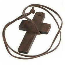 Vintage Fashion Wood Cross Rope Necklace Garment Accessories Concise Gift