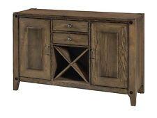 "Amish Rustic Transitional Server Sideboard Wine Rack Gray Solid Wood 2-Door 54"""