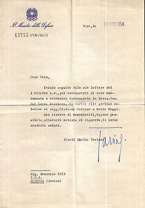 LETTERA AUTOGRAFA DI PAOLO EMILIO TAVIANI Movimento Partigiano in Liguria 17-11