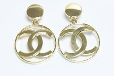 Vintage CHANEL Paris CC Gold Plated Large Logo Hoop Earrings
