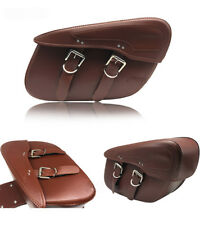 Rider Brown Leather Motorcycle universal Fit Saddlebags Motorbike Panniers Bags