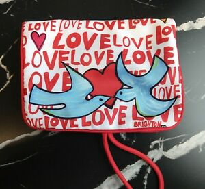 Brighton LOVE Nylon Canvas Jewelry Roll-Up Travel Case Pouch Bag Hearts Doves