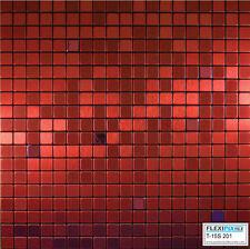 FlexiPixTile- Alum. Peel & Stick Mosaic Tile Kitchen Backsplash Bath -Red Velvet