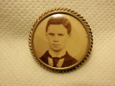 Man Gentleman Brass Scroll Frame Antique Mourning Photo Pin Brooch Young