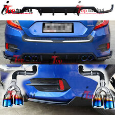 Rear Bumper Bottom Lip Apron Spoiler+Diffuser+Exhaust for Honda Civic Sedan 16+