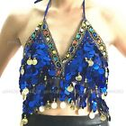 Belly Dance Costume Halter Sequins Blouse Top Bra Bollywood Carnival Halloween