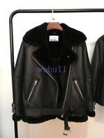 Women's Chic Oversized Leather Fur Black Shearling Bomber Jacket Winter Warm Hot