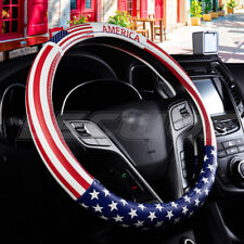 Durable PU leather American flag Car Steering Wheel Cover Auto 15'' 38cm Fit BLK