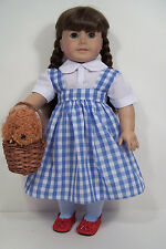 "6pc Wizard Oz Dorothy Dress Toto Basket Doll Clothes For 18"" American Girl (Debs"