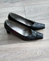 Ladies Size 7 Black Smart Heeled Court Shoes By Gabor