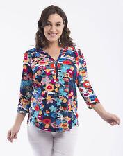 Orientique Da Vinci 3/4 Sleeve T-Shirt Floral Flowers Size 10 12 16 18