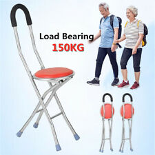 Foldable Elderly Care Walking Cane Stick 2 in 1 Chair Four Legs For Up to 150 KG