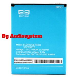 BATTERIA ORIGINALE ELEPHONE per P6000, P6000 PRO 2700MAH 1/CP5/58/72 RICAMBIO