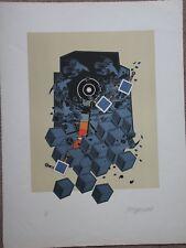 Lithographie d' Alain LE YAOUANC signée Héliophore géométrie espace lithograph *