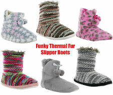 Nordic Fluffy Fur Lined Womens Knitted Thermal Soft Slip On Slippers UK3-8
