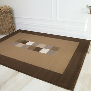 Extra Small Brown Geometric Fireplace Rugs 80x150cm Soft Cosy Bedside Floor Mats
