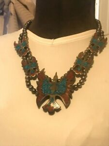 1977 - Tommy Singer Very Early Chip Inlay Turquoise and Red Coral Necklace + B&R