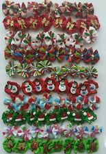 "40 pcs Christmas Rubber band hair bows dog cat grooming handmade 1"" inch approx."