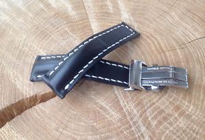Breitling Watch Strap 24mm HANDMADE black + Deployment Clasp