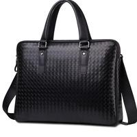 NEW Men Women Bags Hand Weaved Black Leather Attache Satchel Briefcase Handbag