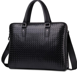 NEW Men Women Bags Hand Weaved Black Leather Attache Satchel Briefcase Handbag