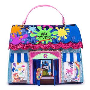 Irregular Choice Arty Party Bag Blue Purple Pink Art Attack Paint Handbag
