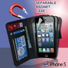 Magnet Separable Flip Wallet Photo ID Pouch Case Cover For iphone 5 5G 5s Se +SP