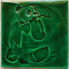 Handmade tile, Panda design - Emerald colour, SC made in  U.K.