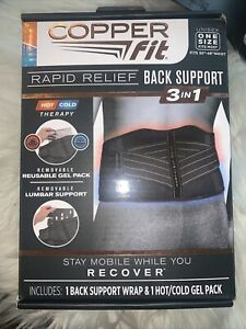 Copper Fit Rapid Relief Back Support Brace Hot/Cold Therapy, Black, One Size NEW