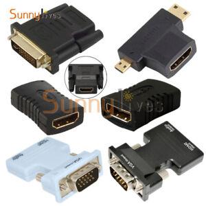 HDMI Female to Female/24+1Pin DVI Male/VGA Male/HDMI Male Adapter Connector HDTV