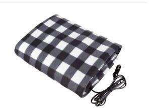 Electric Heated Stalwart Blanket For Automobiles/Heats w/12 Volts Black & White