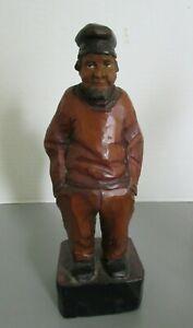 Antique Hand Carved Wooden Quebec Folk Art Man Hands in Pockets