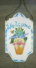 Hand painted welcome wooden house sign name & number can be added