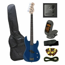 Artist PB2 Blue Electric Bass Guitar with Amp and Accessories