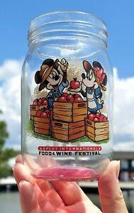NEW Disney 2021 Epcot Food & Wine Festival Mickey Minnie Mason Jar Glass Cup
