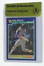 Wade Boggs signed 1991 score card boston red sox baseball beckett coa