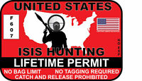 ISIS Hunting Permit Sticker Decal Car Truck Vinyl Window Bumper Funny USA  Auto
