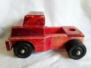 RARE! ~ Vintage RED Community Toy Wood Truck Tractor-front ORIGINAL 1960s