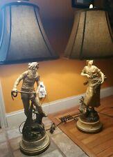 Vintage Pair of L. & F. & Moreau Poly chrome Figural Lamps