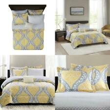 Mainstays Yellow Damask 8-Piece Bed in a Bag Bedding Set, Queen