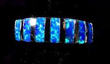 "Sterling 925 Silver SF Size 7 Ring Baguette Cut Blue Lab Fire Opal 1/4"""