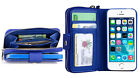 Blue All in One Zip Purse Wallet Leather Case Cover For iPhone 6 Plus