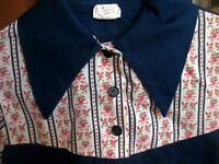 sz 10 GIRLS Vtg 70s SEARS GROWING GIRL ULTRA THIN FLORAL PRINT BLUE HIPPY Dress