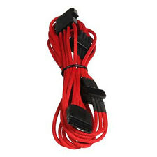 Powercool molex Male 4pin to 4 x 20cm (80cm Total) SATA Power Braided Cable Red