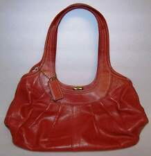 Coach Burnt Orange Kiss Lock Pleated Leather Purse Tote Bag Preowned NICE!